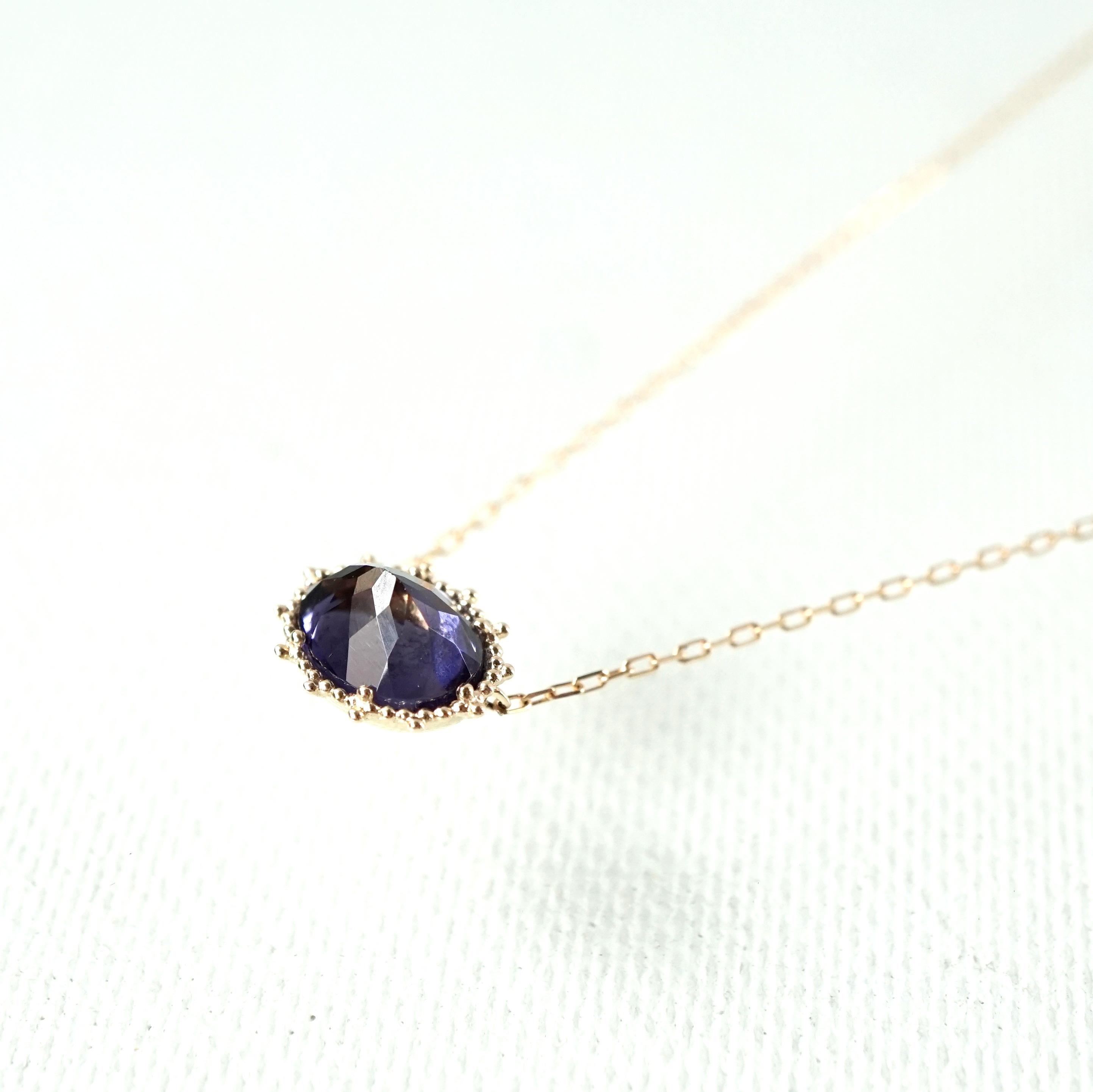 Granulation 8×6 gem Necklace - Iolite