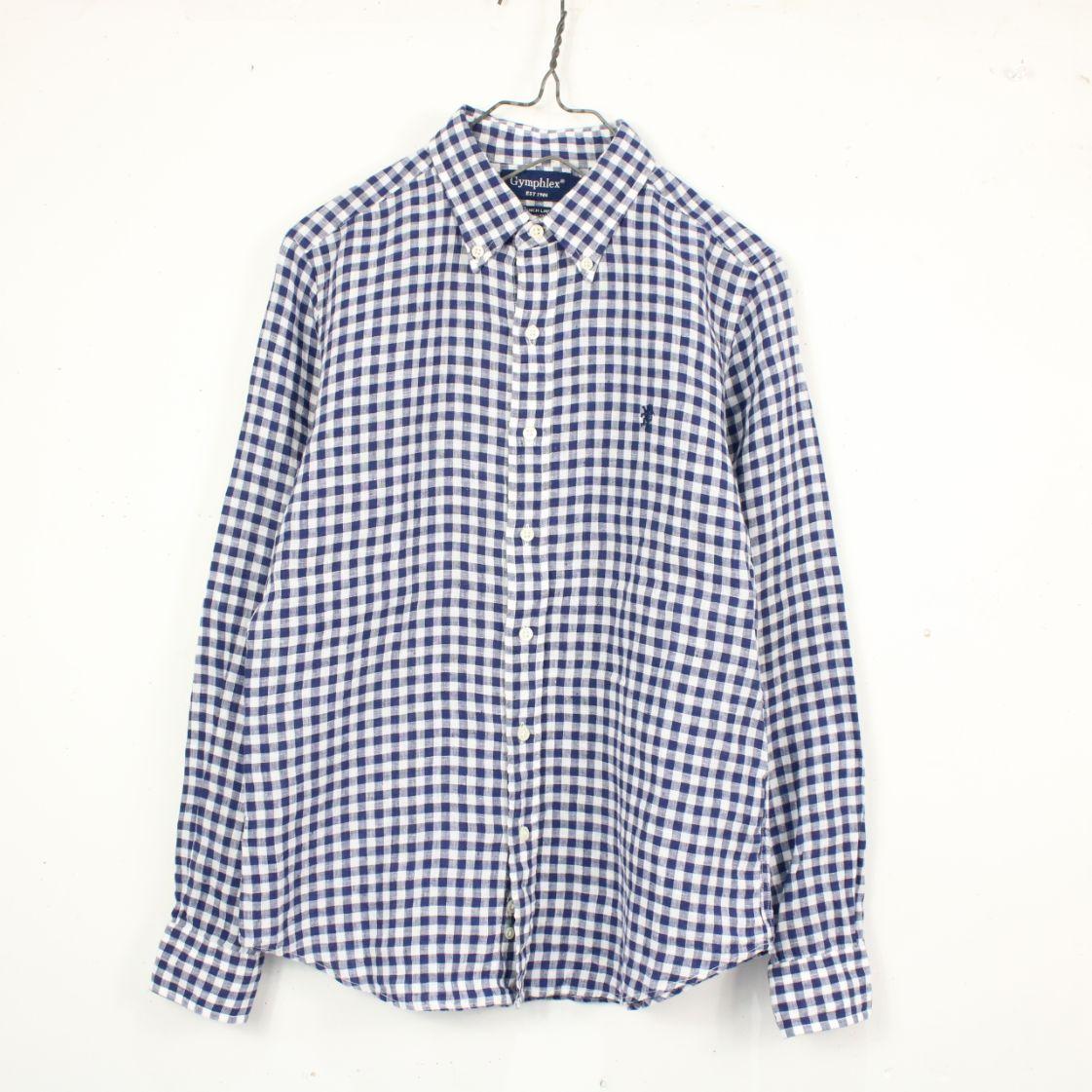 【美品】Gymphlex / ジムフレックス | フレンチリネンチェックボタンダウンシャツ | 12 | ブルー