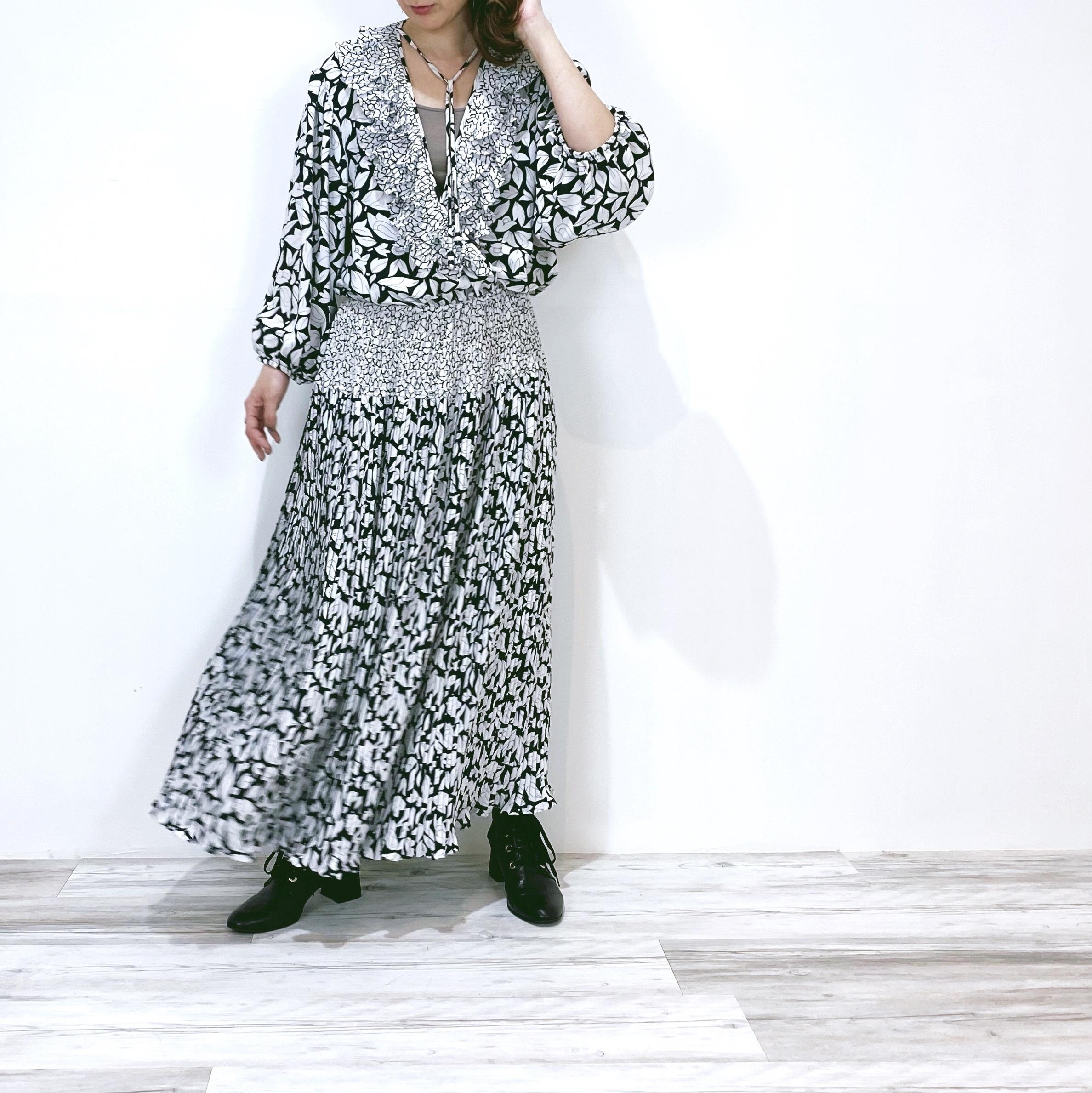 "◼︎90s ""Susan Freis"" floral frill dress from U.S.A.◼︎"