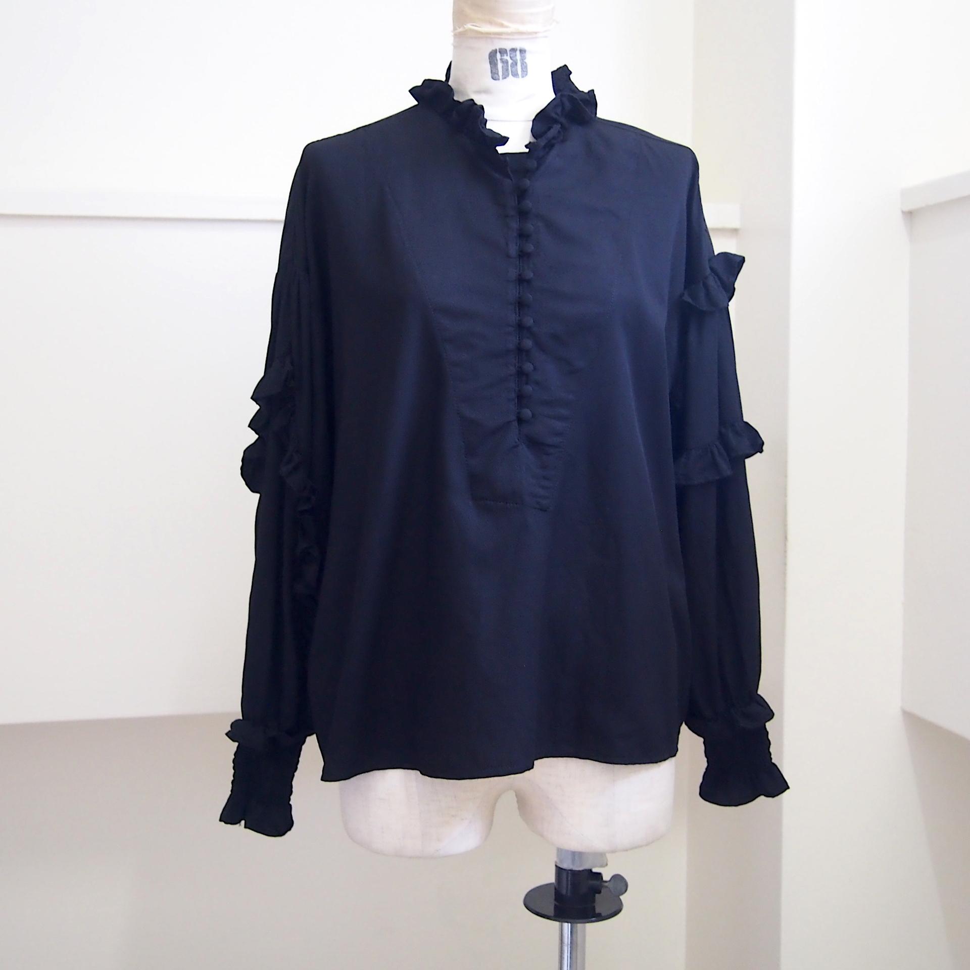 【RehersalL】twill frill blouse(black) /【リハーズオール】ツイルフリルブラウス(ブラック)