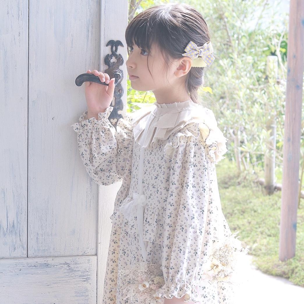 【即納】2色花柄ウエストフリルワンピース