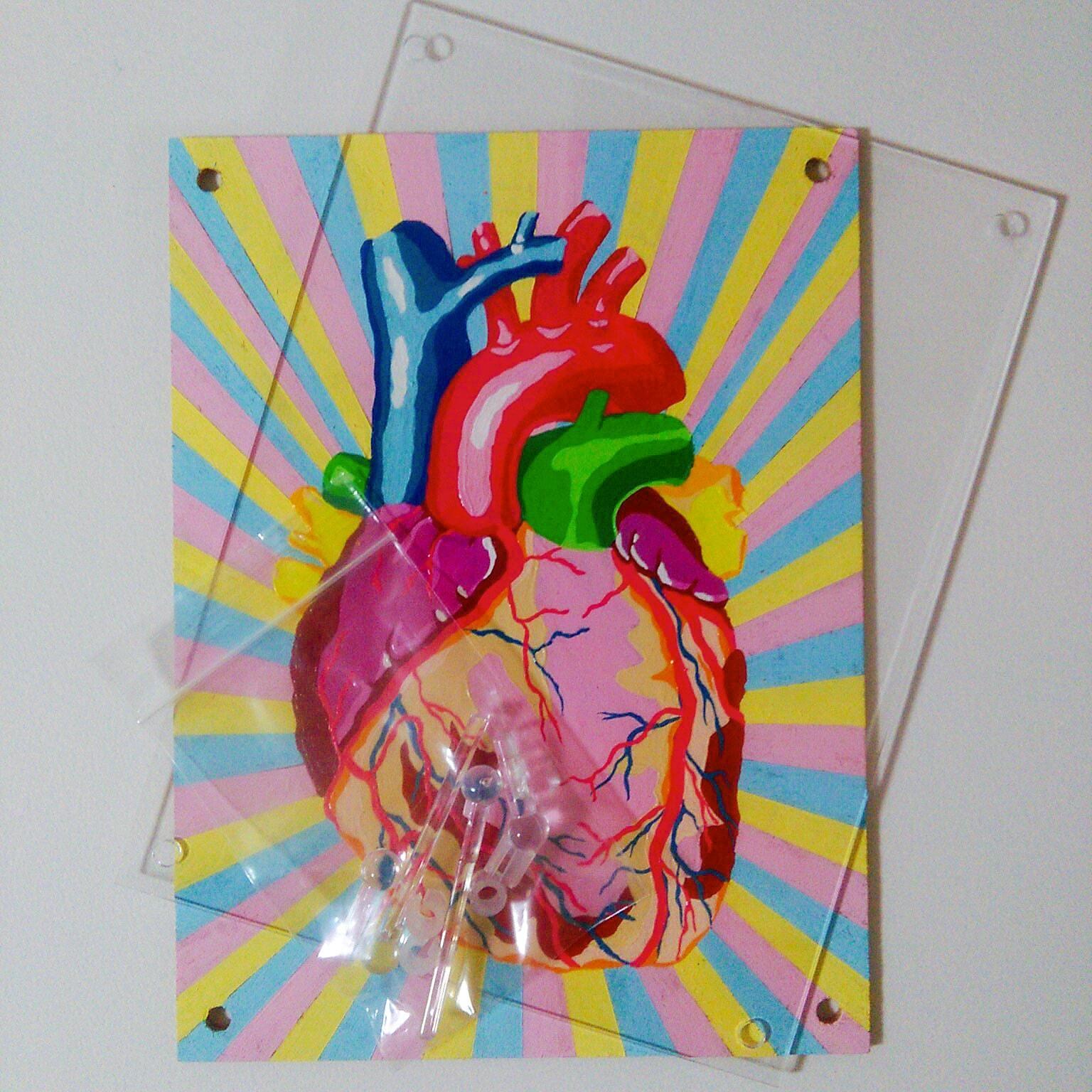 HEART WOMAN (2019) & HEART (2020) / 18cm×13.5cm / Acrylic painting / Original Drawing