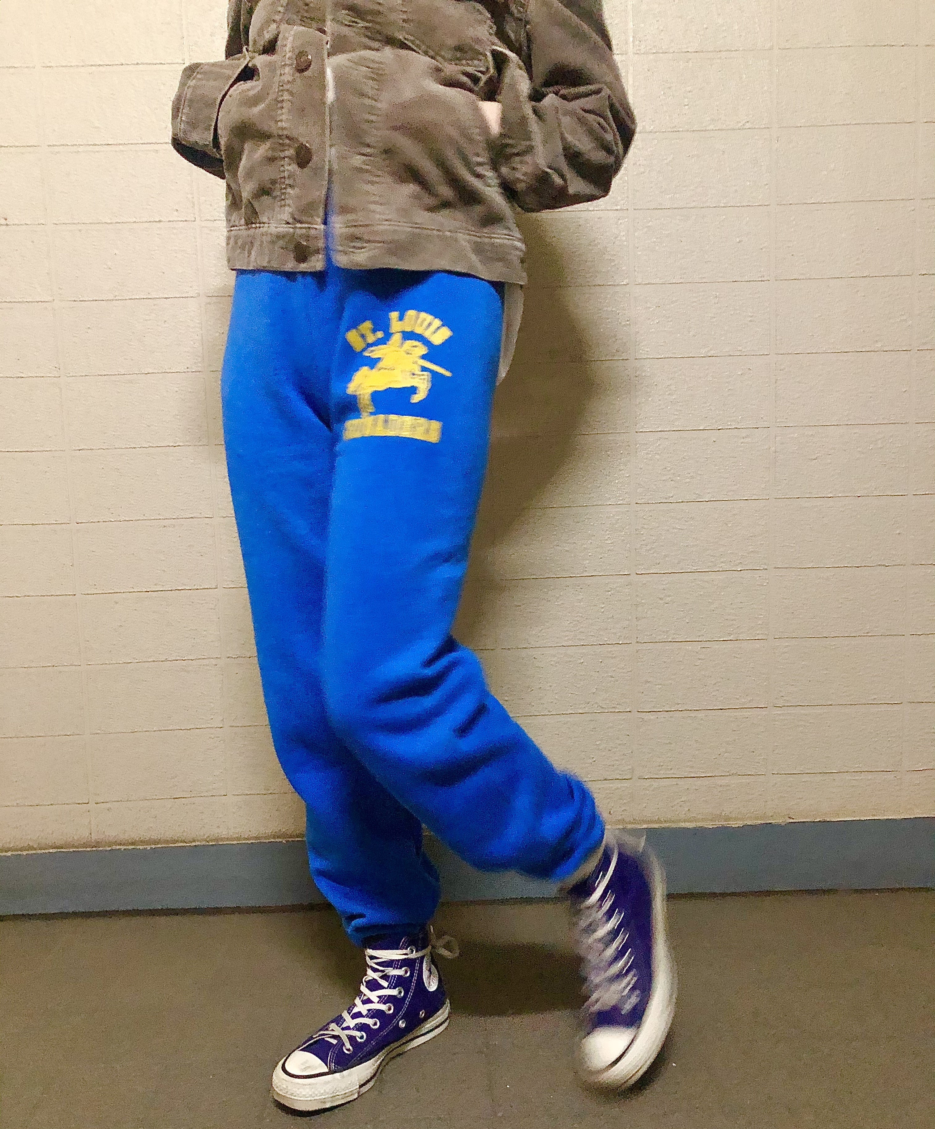 80s~90s US FRUIT OF THE ROOM  blue sweat pants