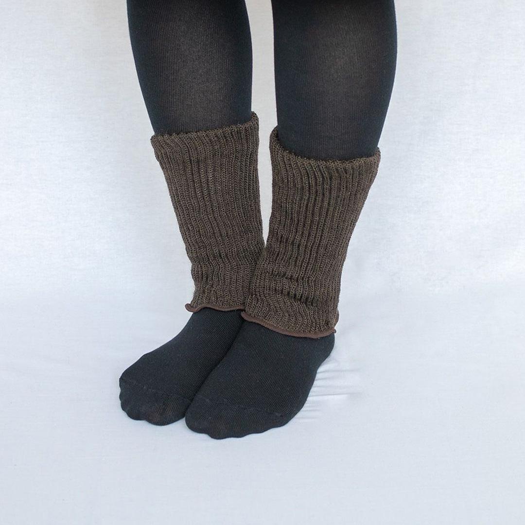 NISHIGUCHI KUTSUSHITA 西口靴下 natural sunny シルクコットン二重編みレッグウォーマー