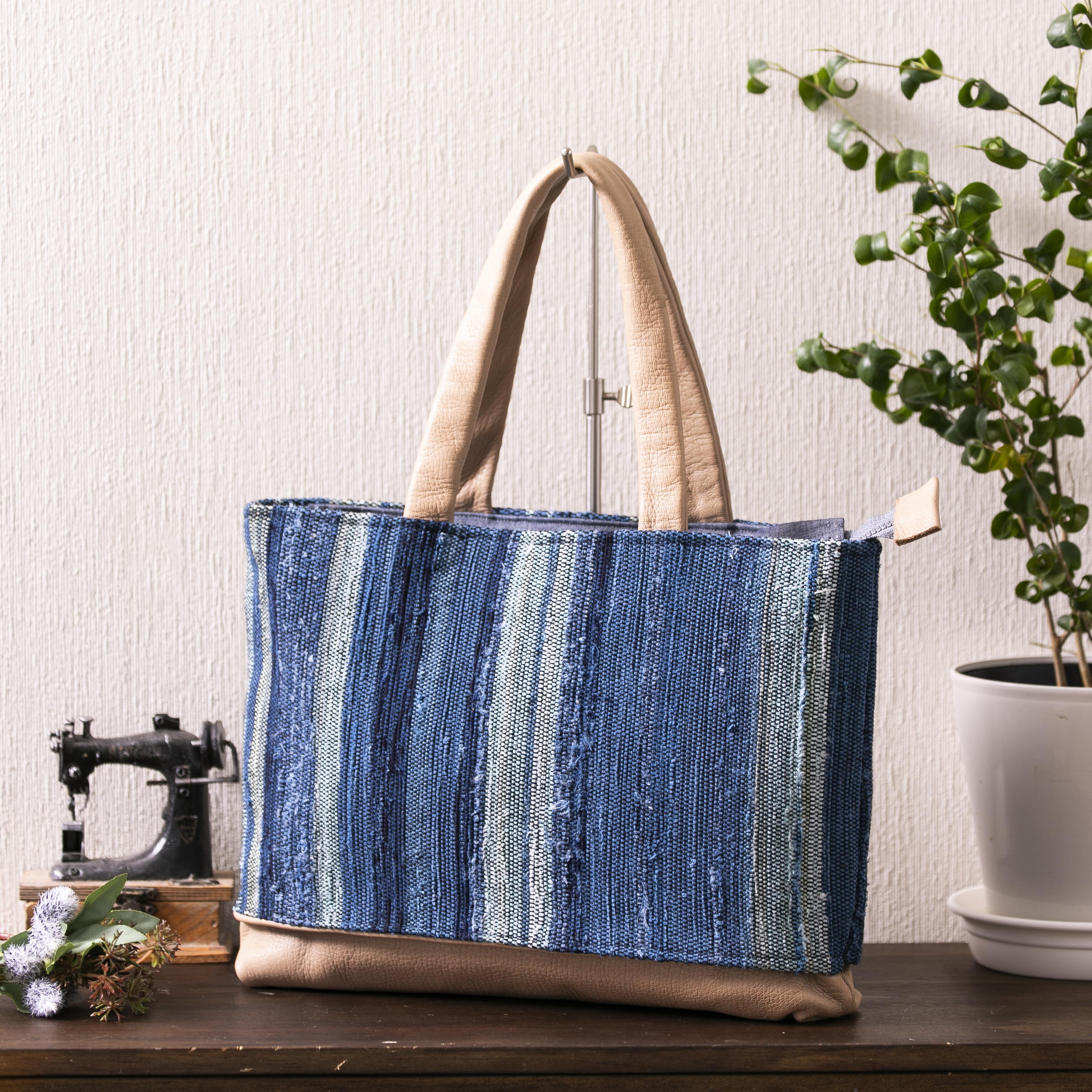 エゾシカ革付きトートバッグ(本藍染め)