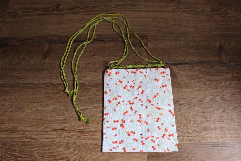 水色金魚文様和紙巾着Mサイズ