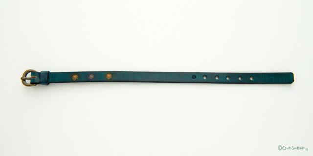 木版染革ベルト青緑丸S
