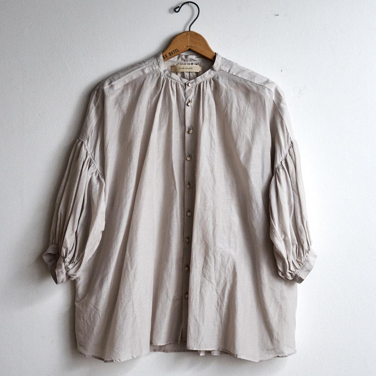 suzuki takayuki スズキタカユキ puff-sleeve blouse ice grey S211-13 (レディース)