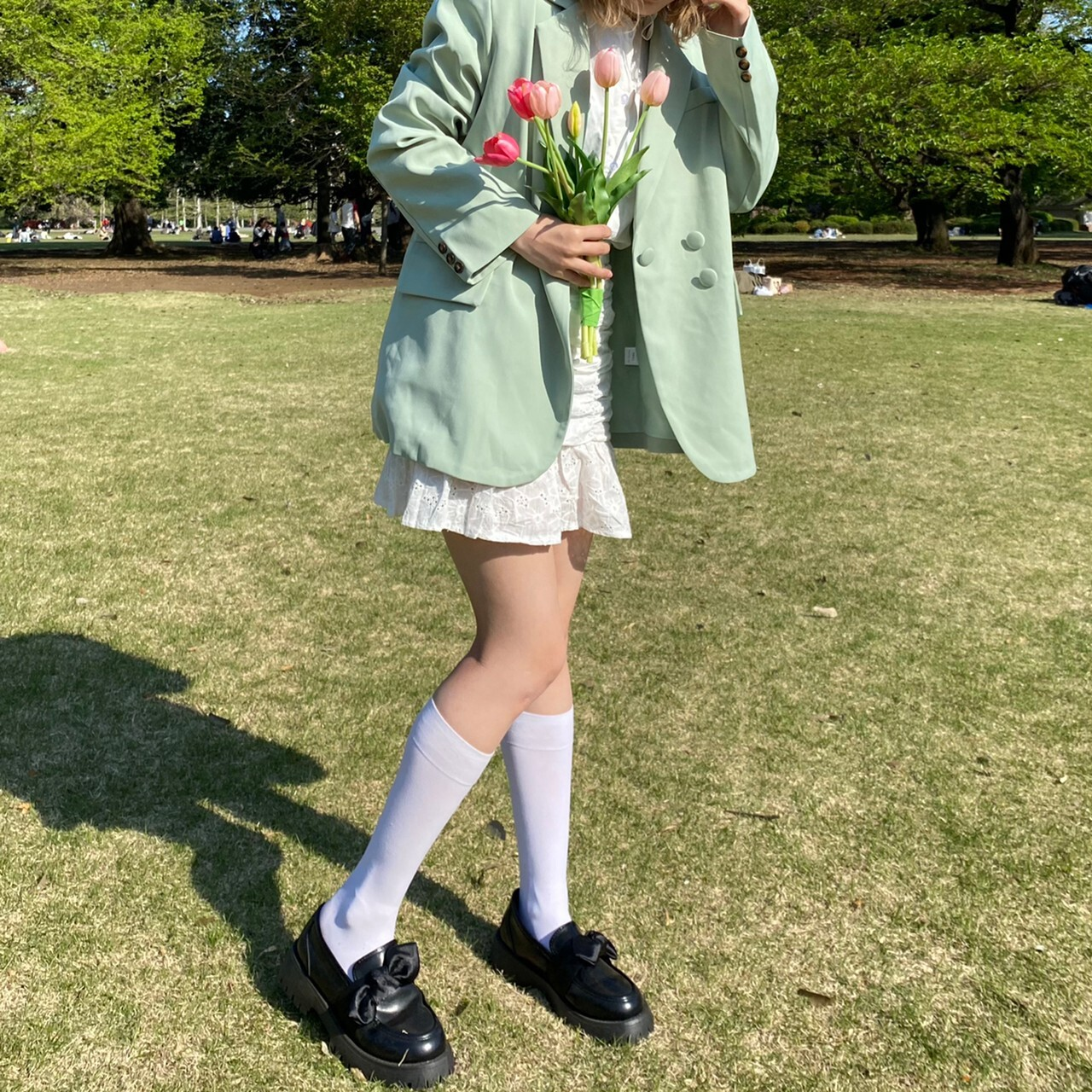 cotton lace mini skirt