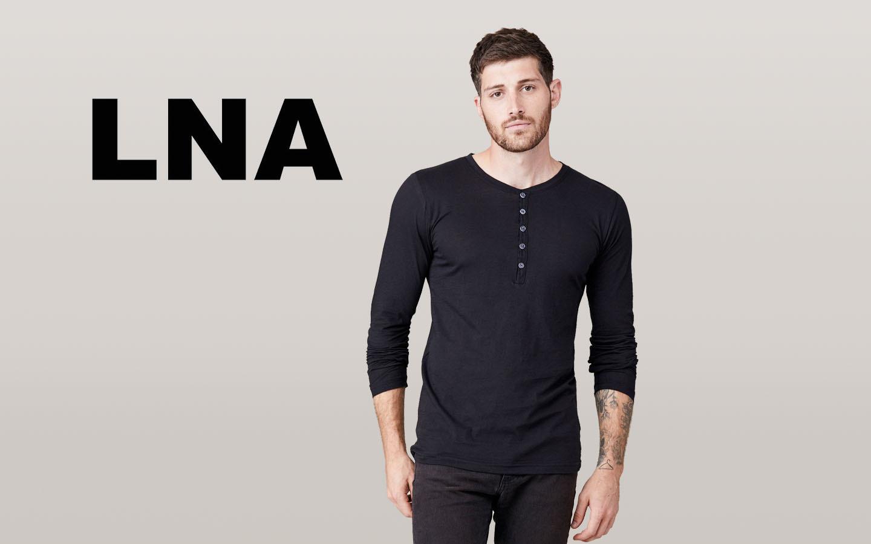 LNA/エルエヌエー ロングスリーブボタンヘンリーシャツ/ブラック