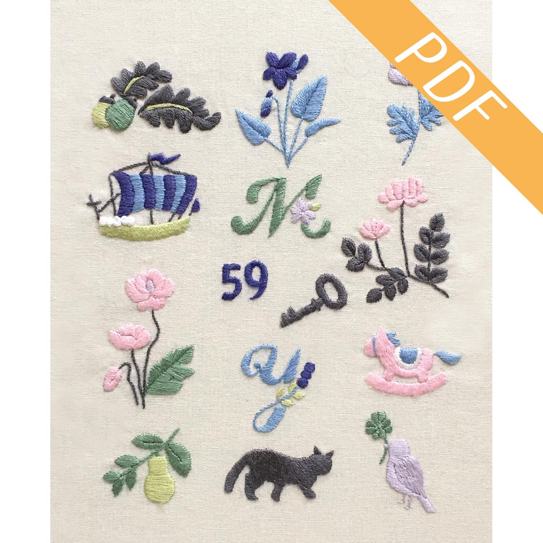 【図案ダウンロード】『annasのはじめての刺しゅう小物』(5)花と鳥のワンポイント図案