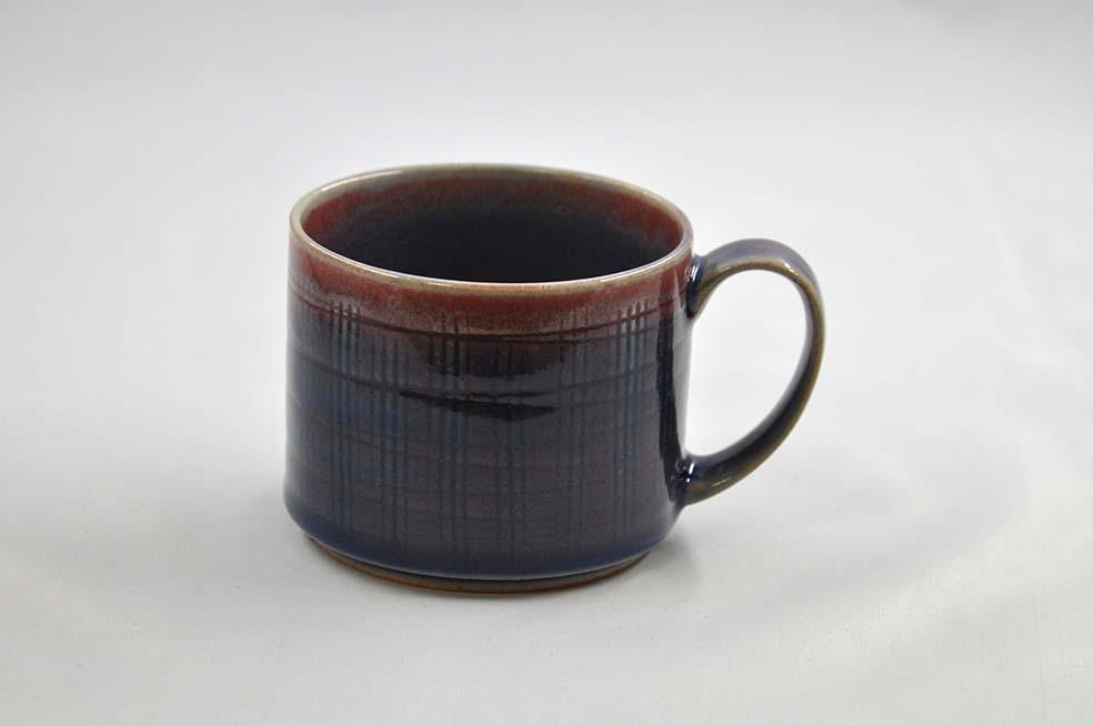 格子彫り マグカップ  4corals