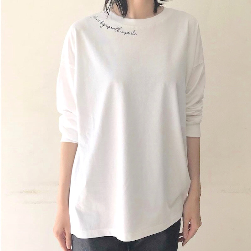 【 siro de labonte 】- R043225 - ハイゲージネックプリントTシャツ