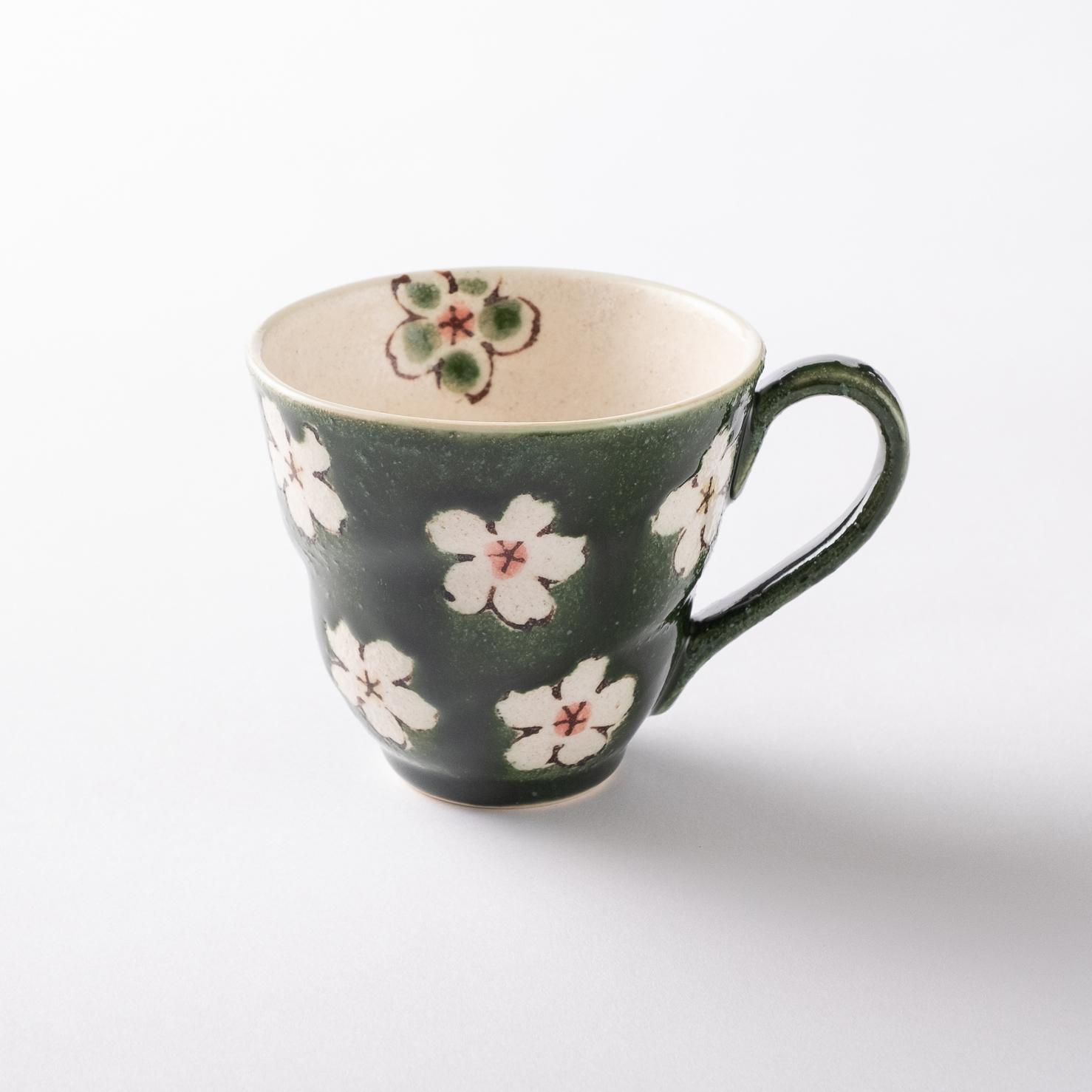 【美濃焼】軽量マグカップ「花おりべ マグカップ 花散し緑」