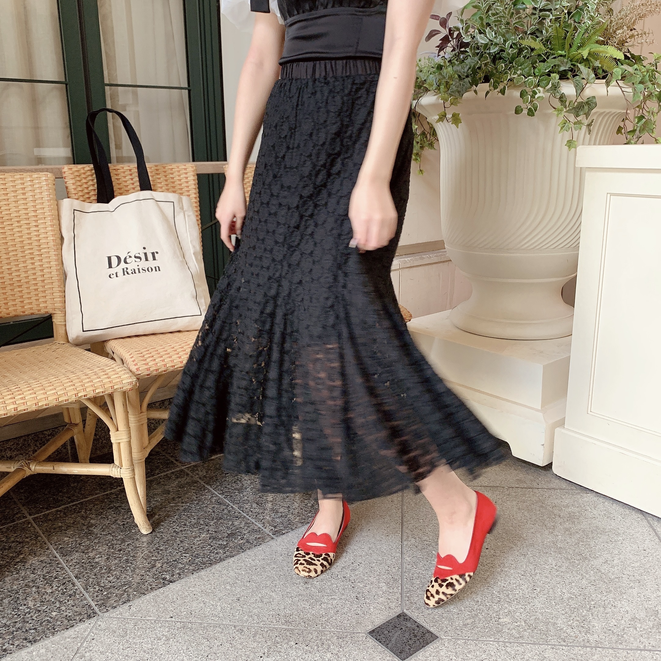 long lace flare skirt