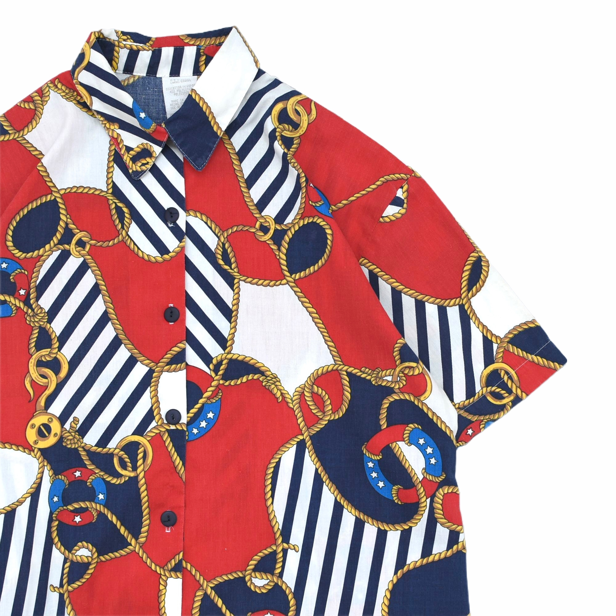 80〜90's Luxury marine full pattarn shirt Made in USA