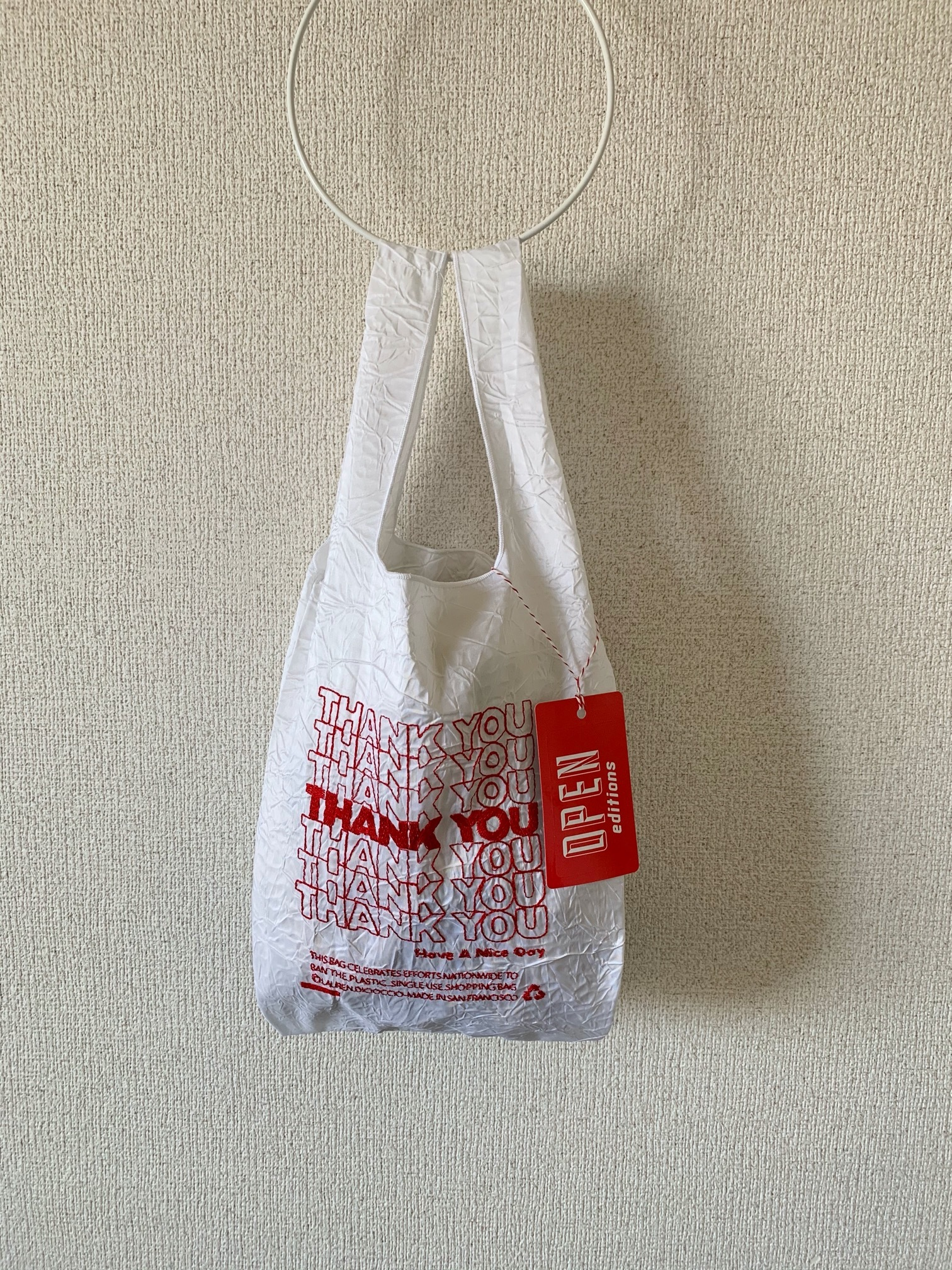 【OPEN EDITIONS / 送料無料】THANK YOU MINI エコバッグ/ THANK YOU Red