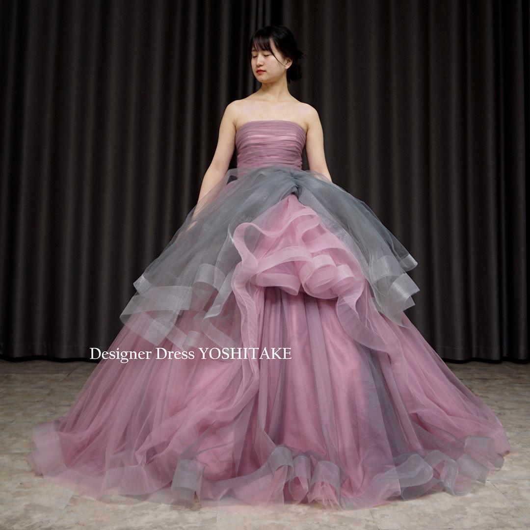 【オーダー制作】ウエディングドレス ピンク/グレイチュールドレス 披露宴/お色直し ※制作期間3週間から6週間