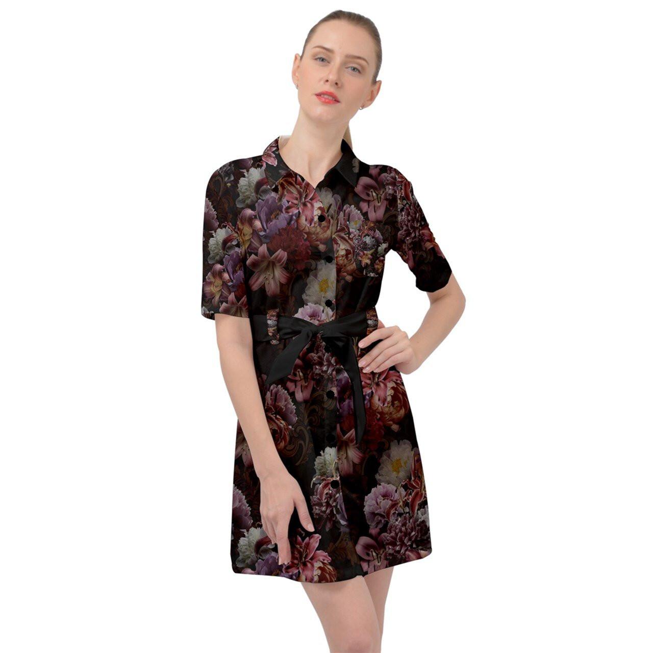 芍薬牡丹百合 黒 ベルテッドシャツドレス