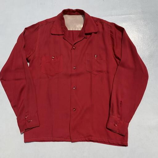 50's UNKNOWN レーヨンギャバジンシャツ 赤 レッド ロカビリー ベークライトボタン ボックスシャツ S~M 希少 ヴィンテージ BA-1005 RM1374H