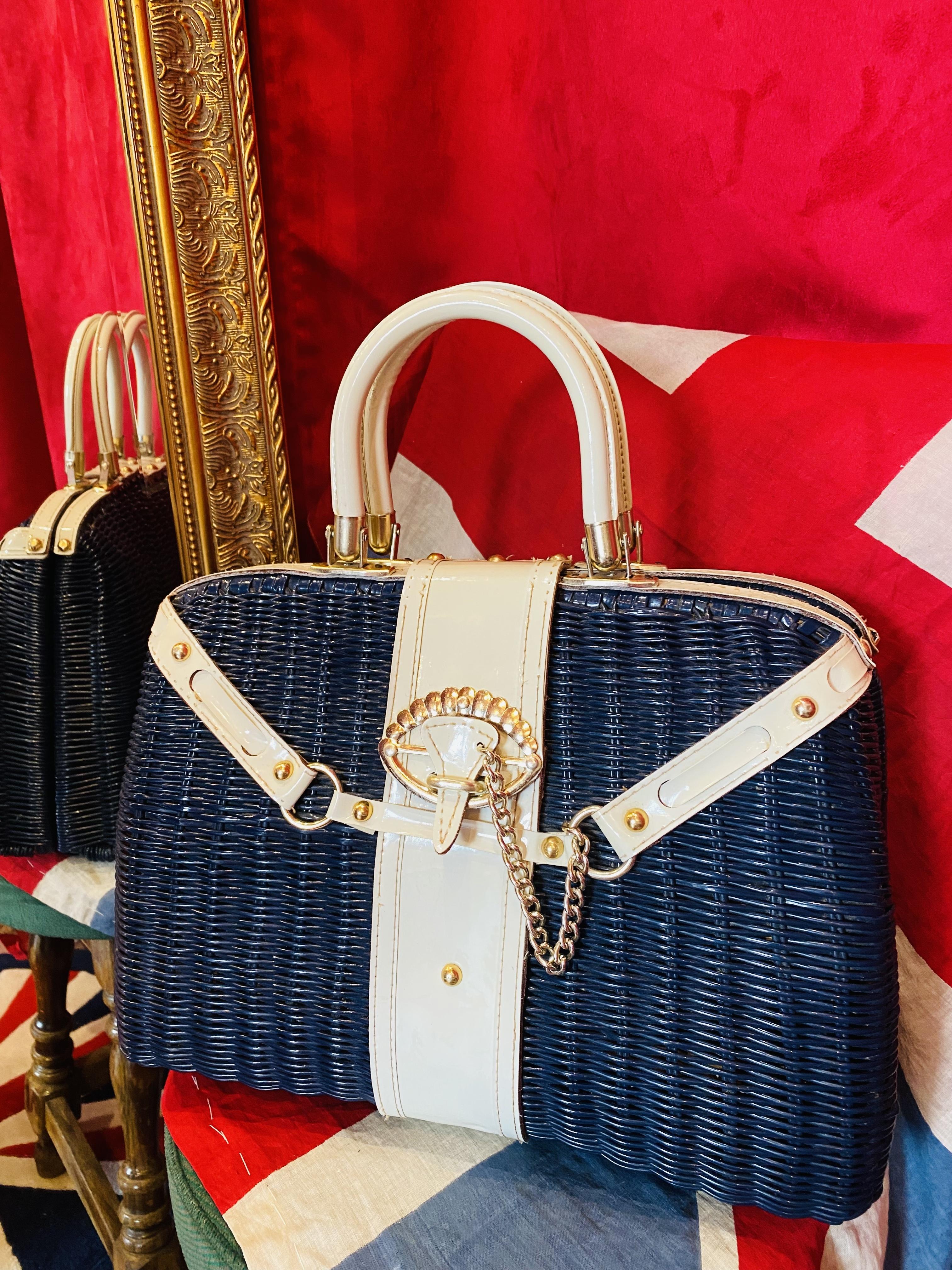 英国60's Wicker bag かごバッグ