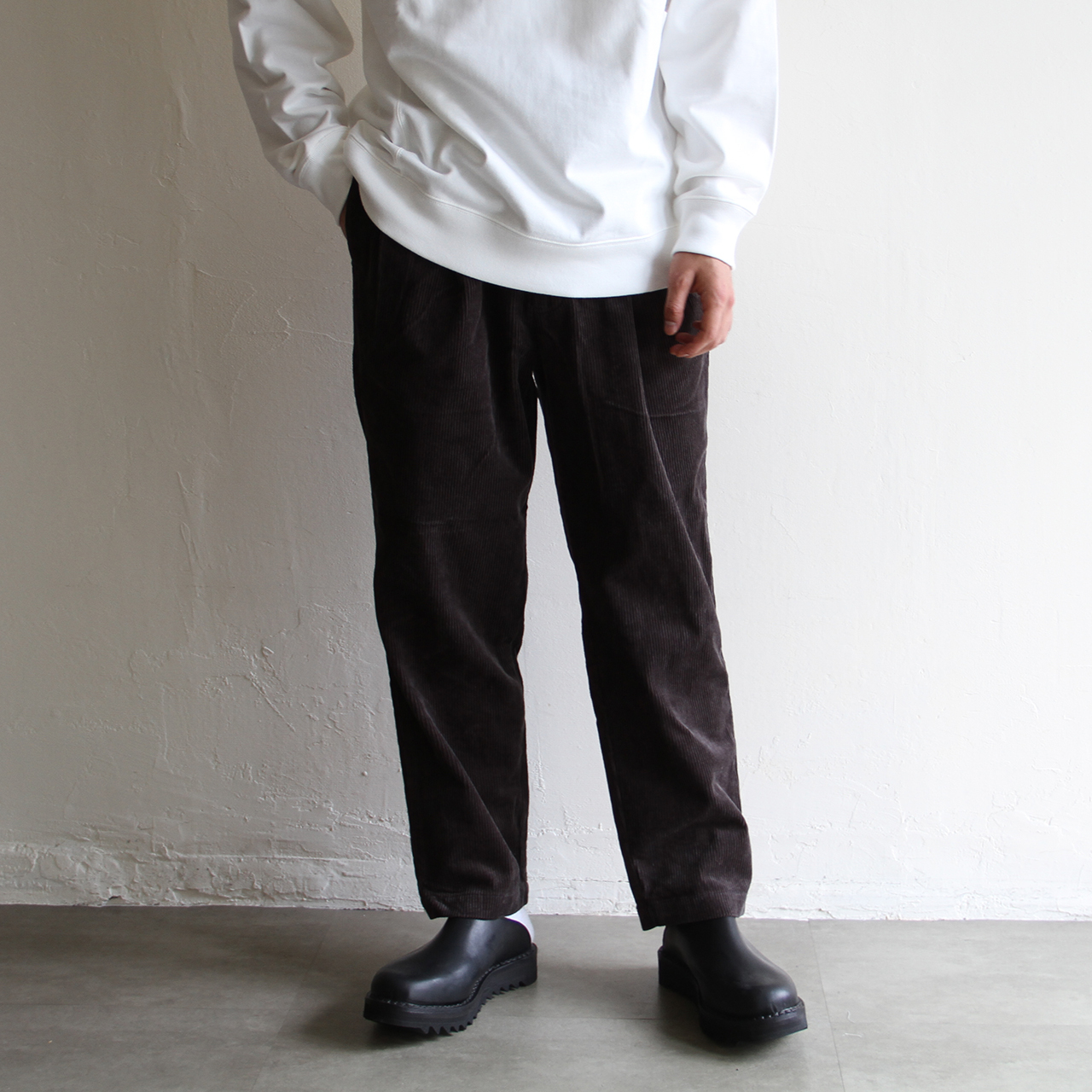 STILL BY HAND【 mens 】cord 3tuck pants