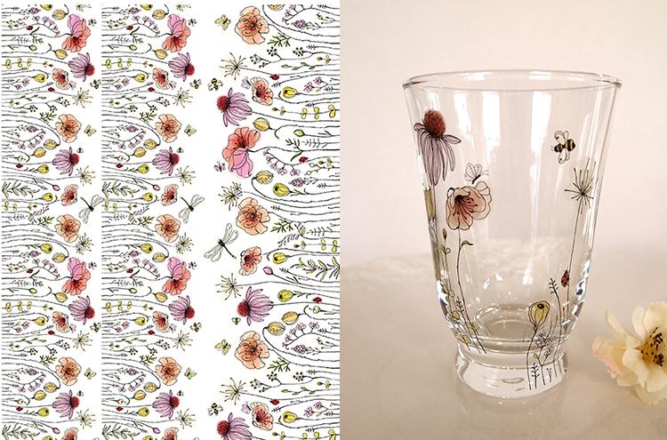 ガラス用 水彩 野に咲く花転写紙 A4サイズ (ポーセラーツ花転写紙)