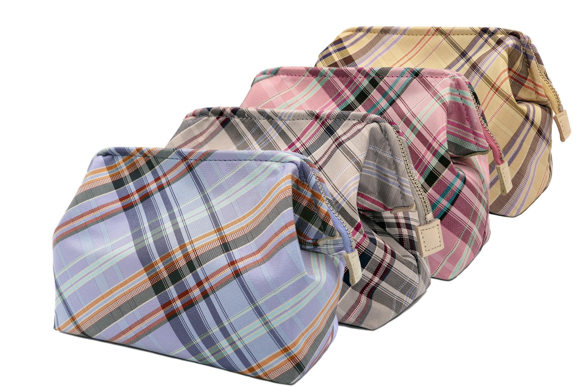 Atelier Kyoto Nishijin/西陣織シルク・がばっと開くアクセサリーポーチ・マルチチェック・ローズピンク・日本製