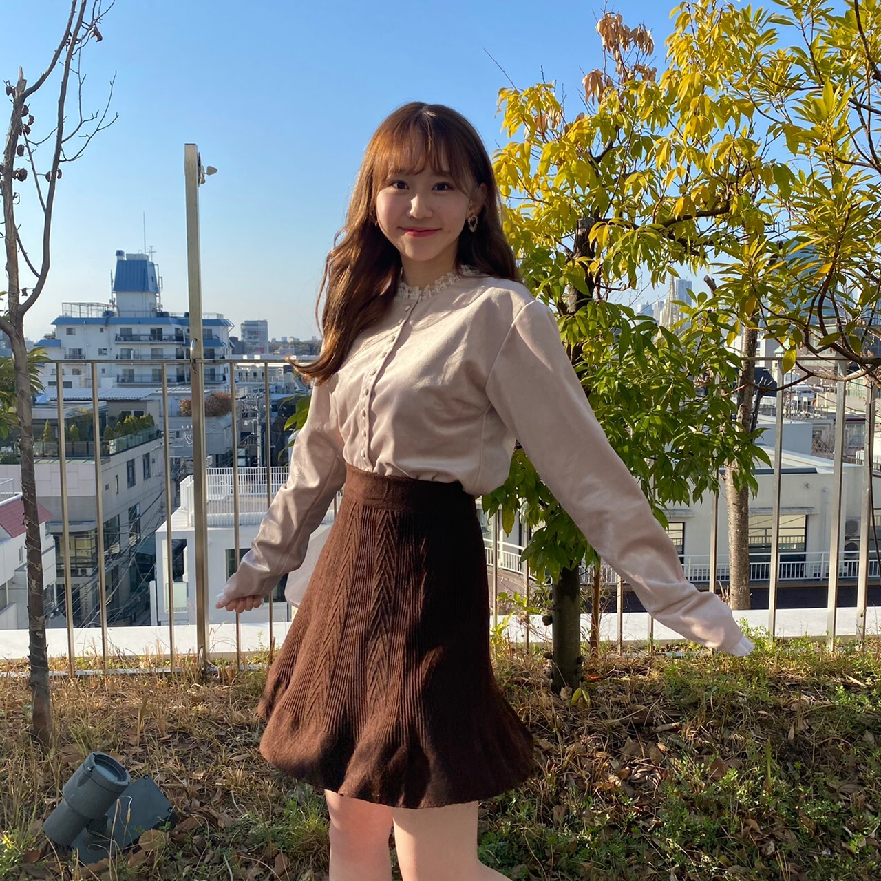 flare knit mini skirt