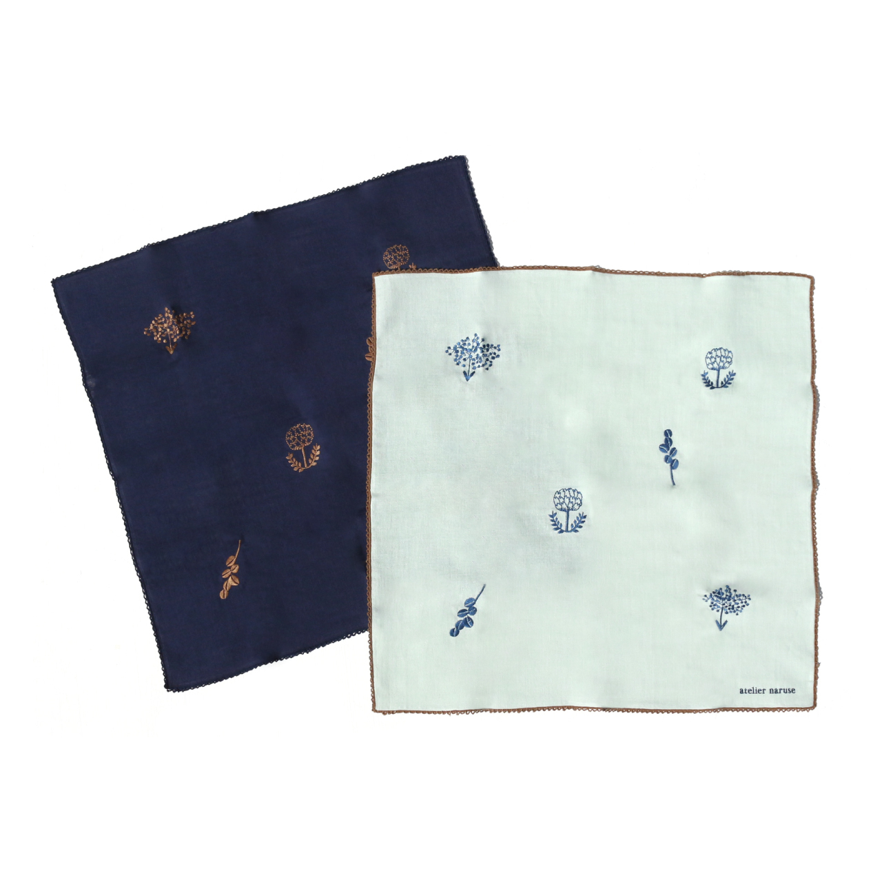 atelier naruse handkerchief 〜monotone flower〜 / アトリエナルセ ハンカチ 〜monotone flower〜
