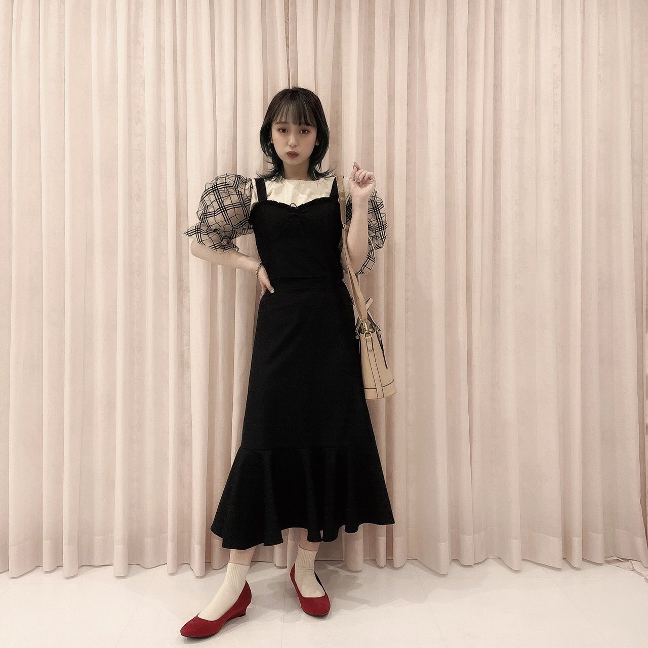 5/31締【meltie】sheer check  puff blouse