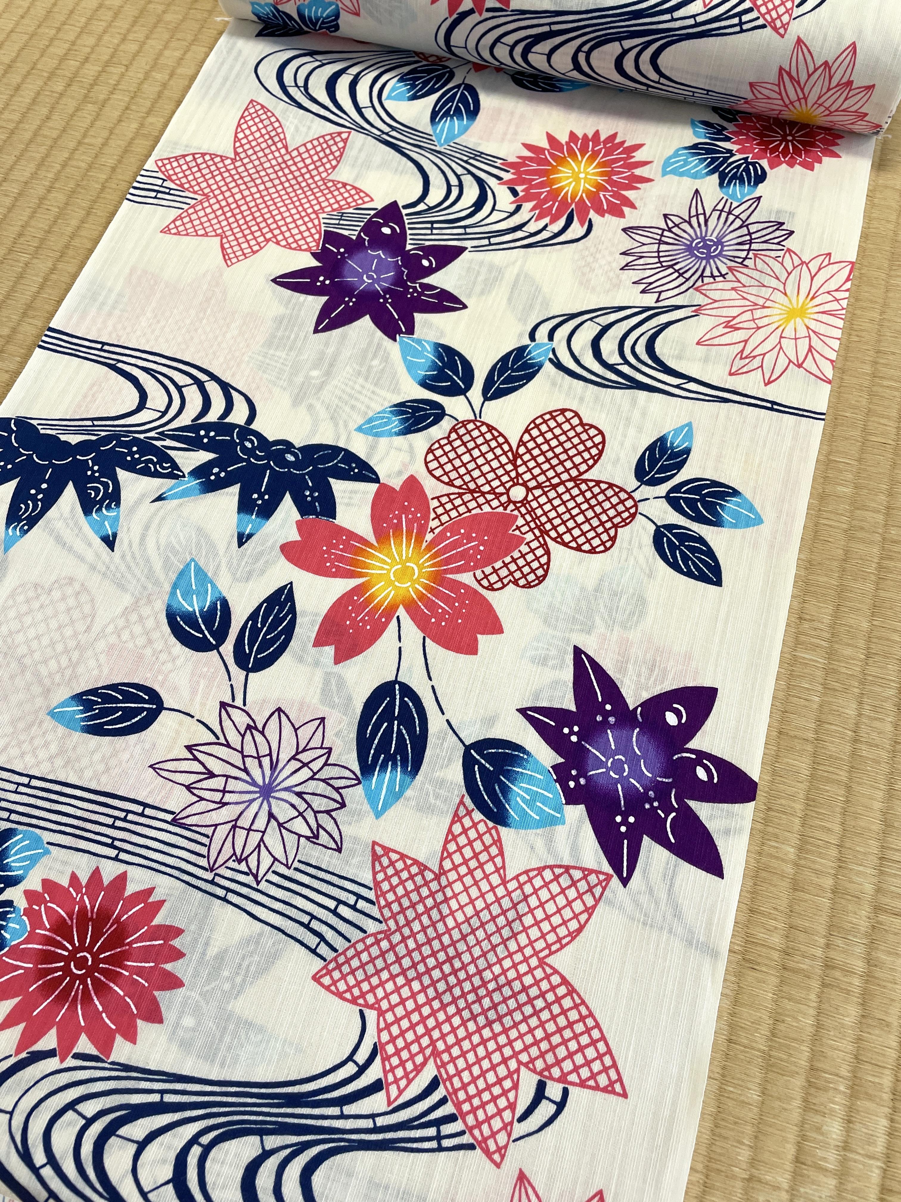 【セール】紅型風 綿麻地 浴衣(堀井・源氏物語)