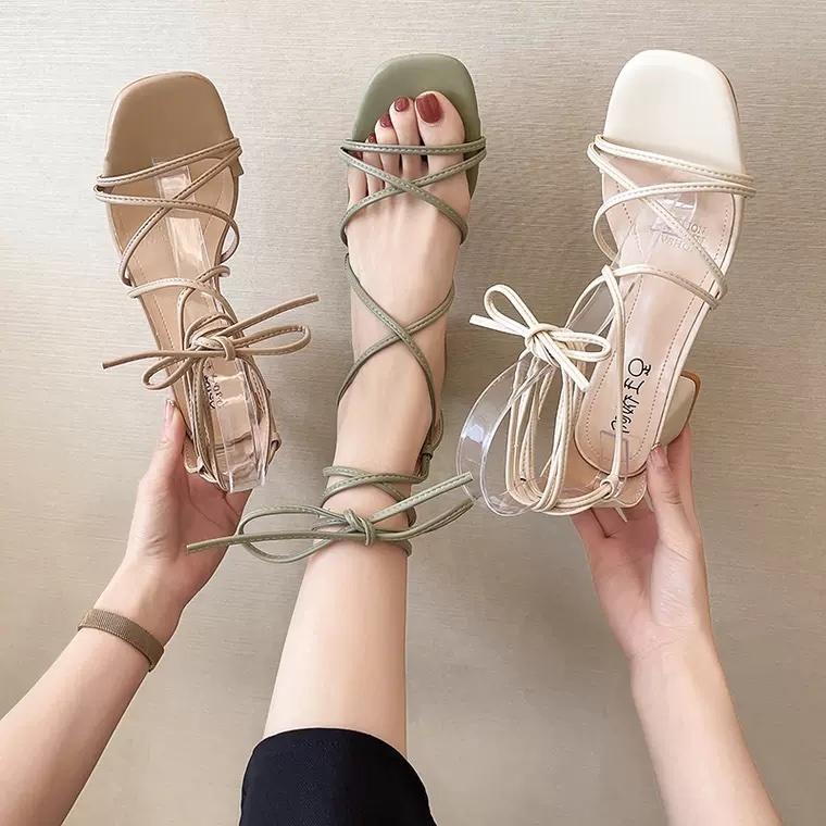 lace up ribbon sandal 3color