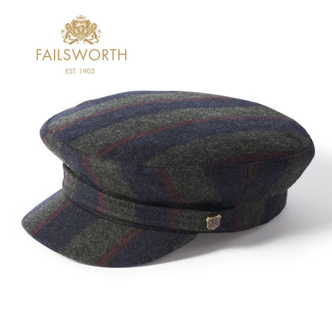 【FAILSWORTH】 英国マラリウス製生地使用 ストライプ マリンキャップ 〈Grey〉