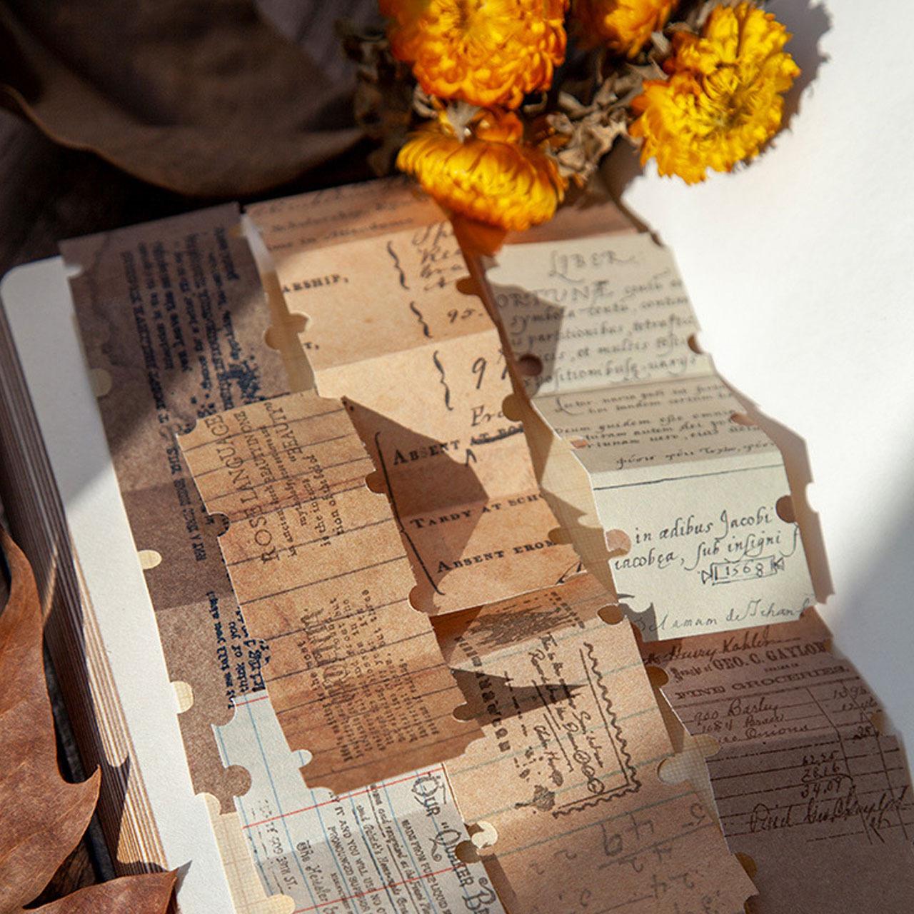 レトロ 素材紙 全8種 北欧 ヴィンテージ調 デザペ コラージュ ほぼ日手帳 ジャンクジャーナル E07