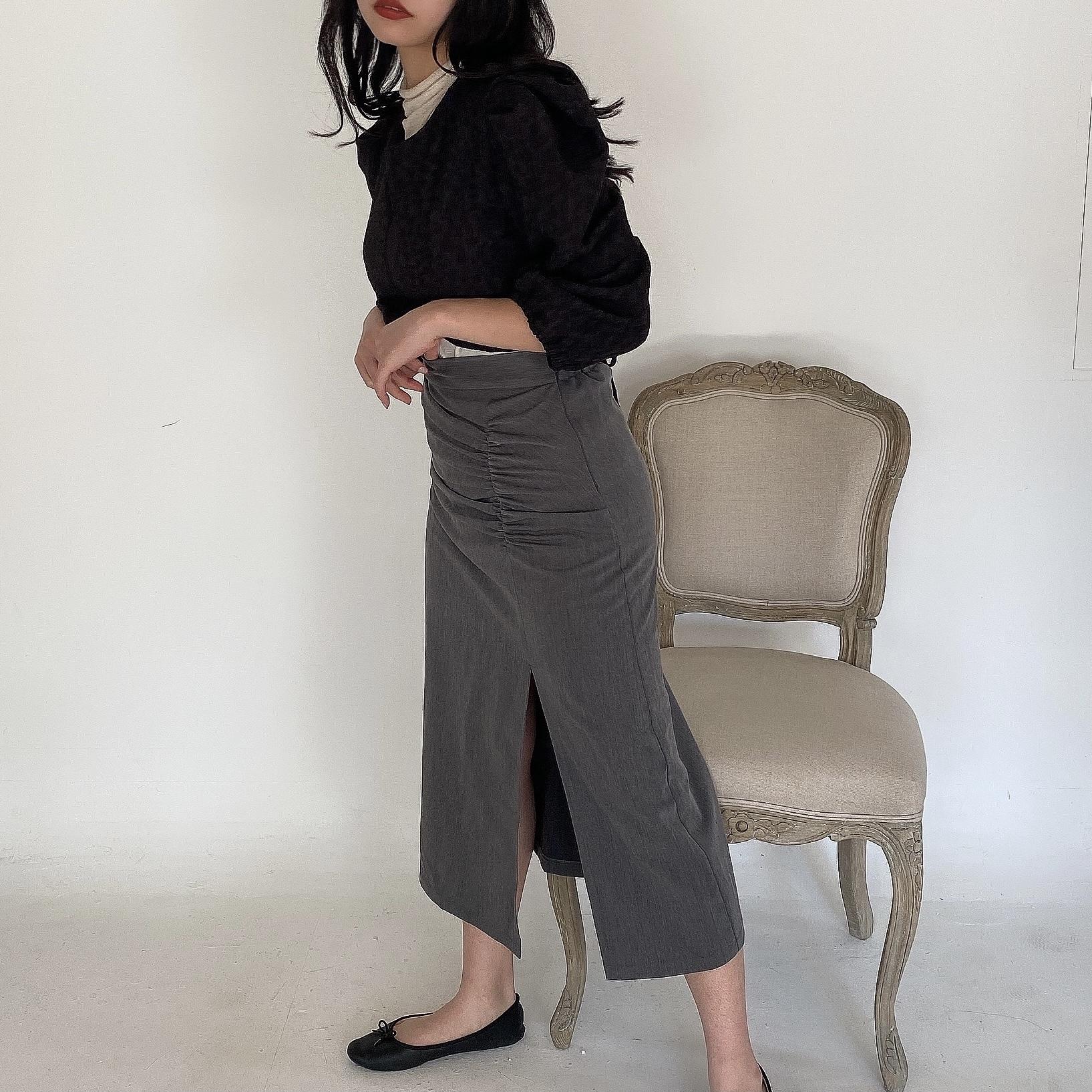 【Belle jour】shirring slit skirt