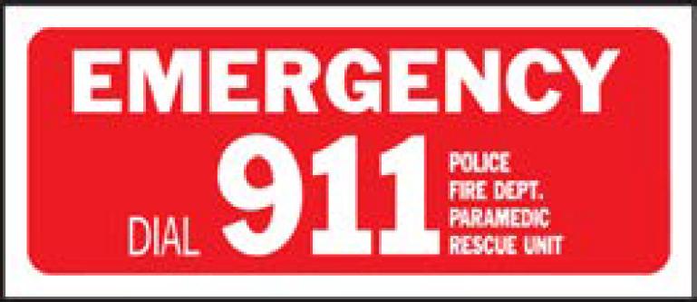 HY-KO 6x14プラスチックフェンスサイン【EMERGENCY DIAL 911】