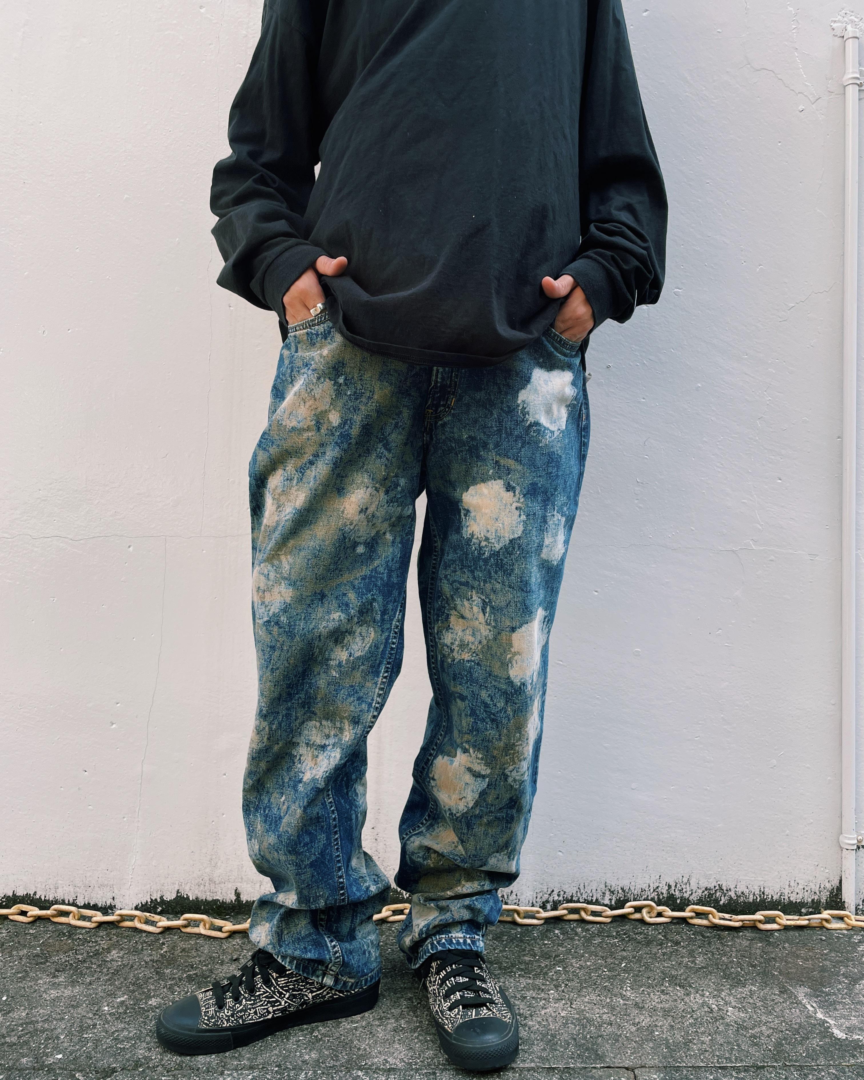 (PT011)90's TOMMY JEANS bleach paint denim