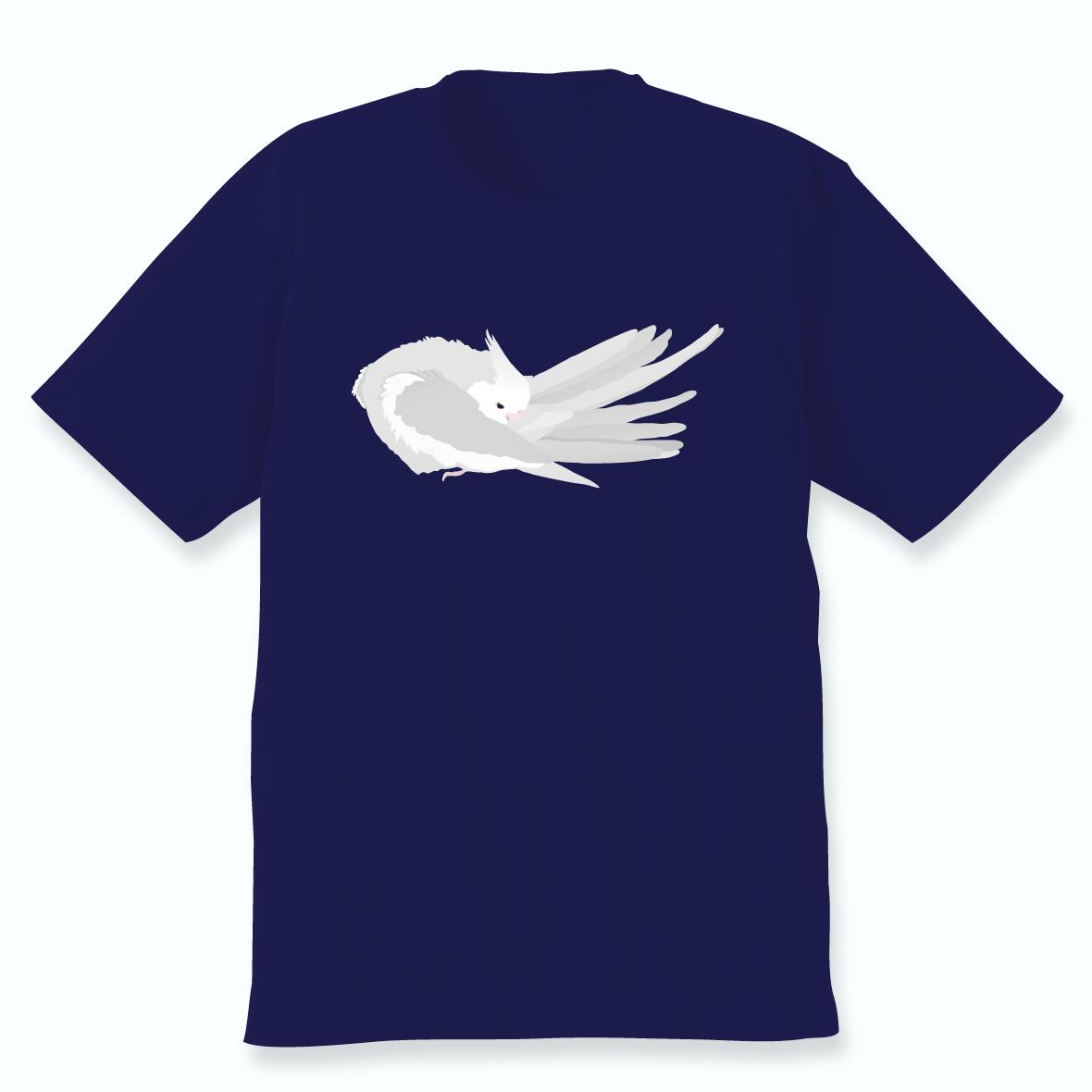 羽づくろうオカメインコTシャツ(ホワイトフェイス男の子)ネイビー