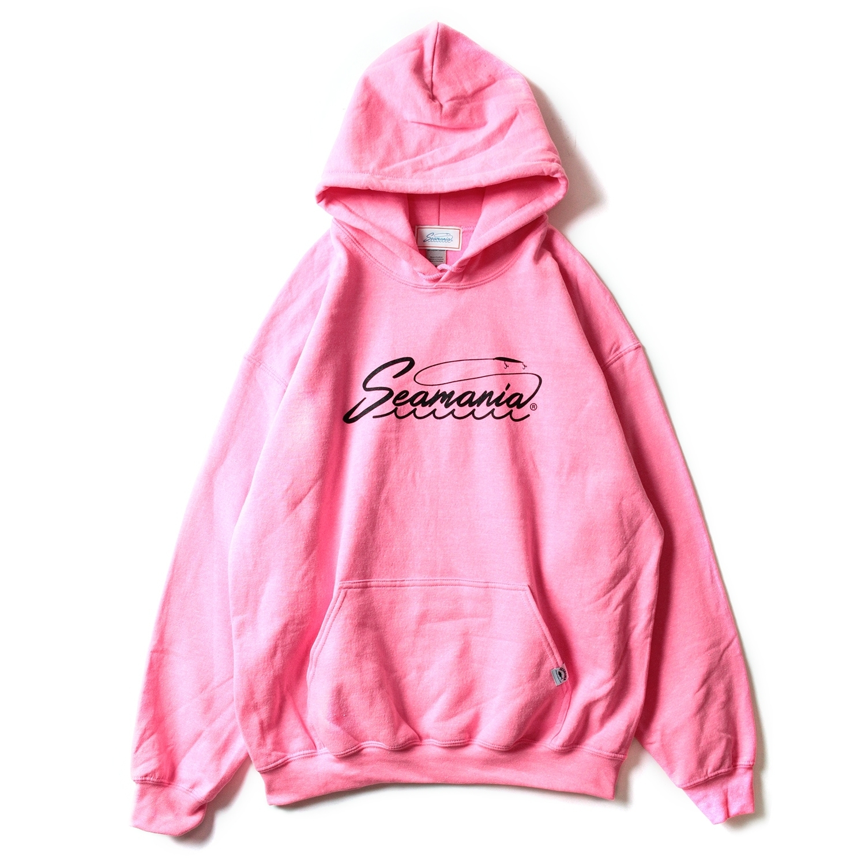 【Seamania】ロゴプリント8oz裏起毛プルオーバー [ピンク]