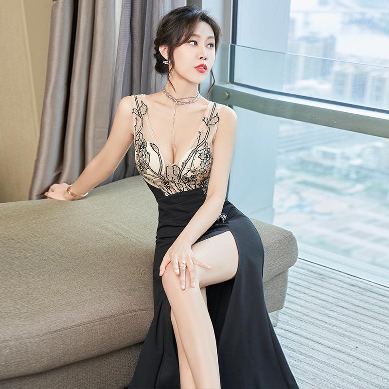 刺繡 レース 高級 レディース 肌見せ 谷間魅力 同伴 ロングドレス キャバドレス MY2039