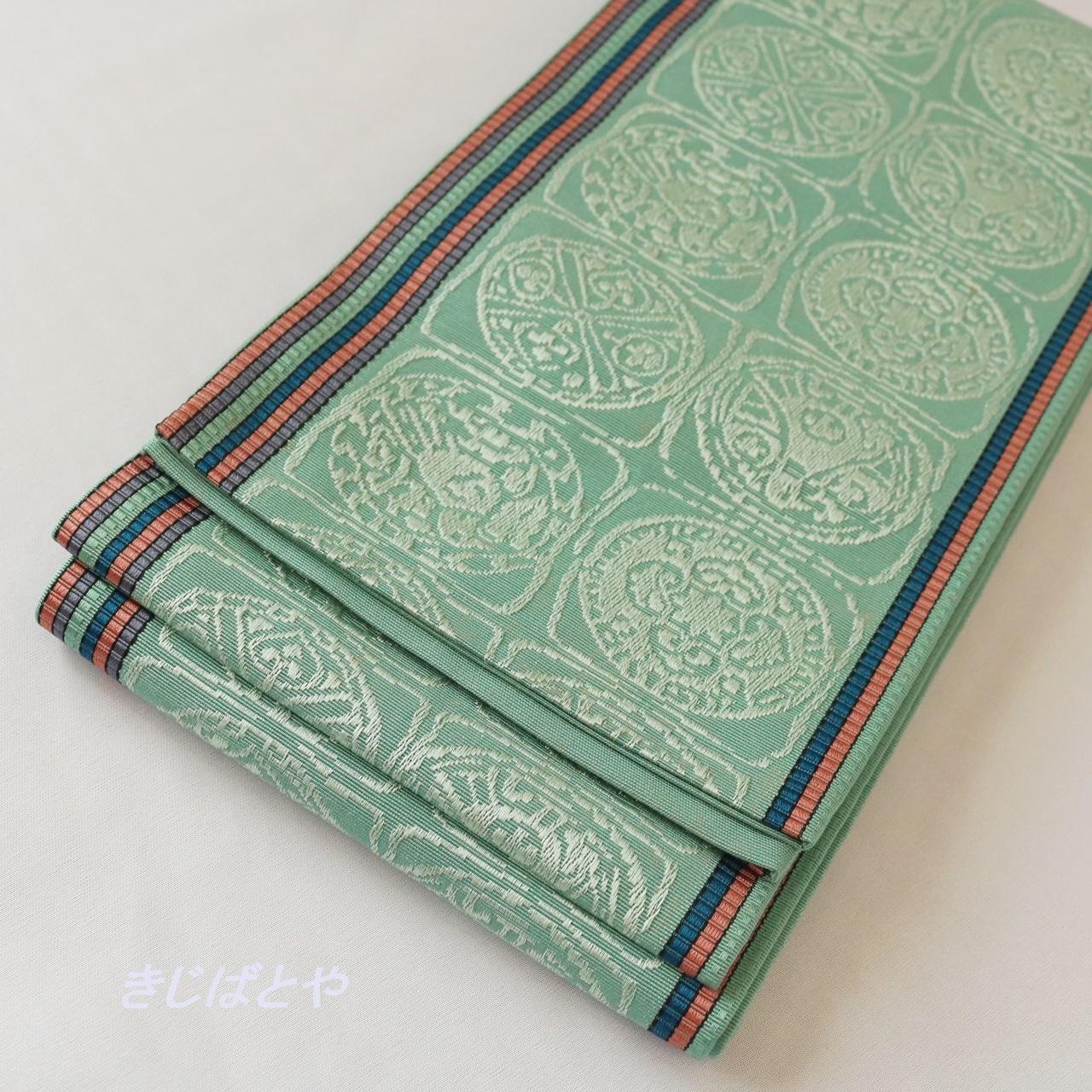 正絹 花緑青の博多半幅帯