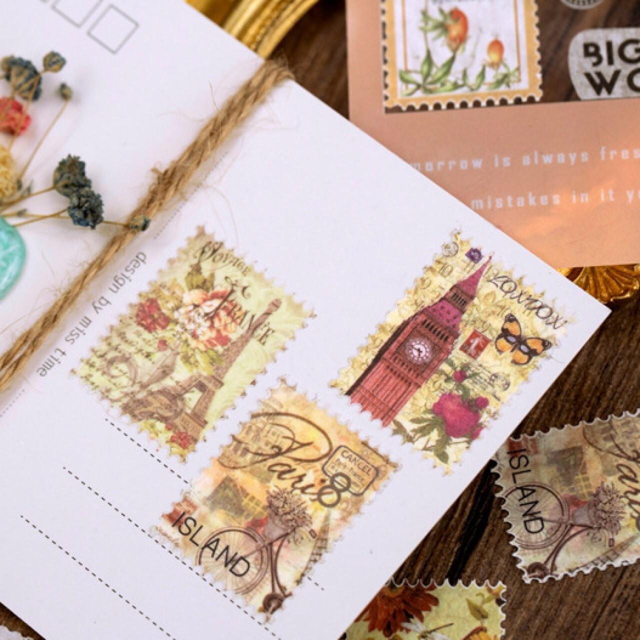 マスキングテープ 切手モチーフ 全8種 レトロ ヴィンテージスタンプシリーズ  花柄 香水 きのこ ほぼ日手帳 マステ S16