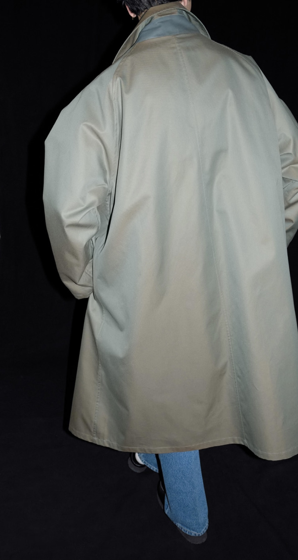 Cristaseya   [JAPANESE TWILL COTTON OVERSIZED TRENCH WITH LEATHER PATCH]