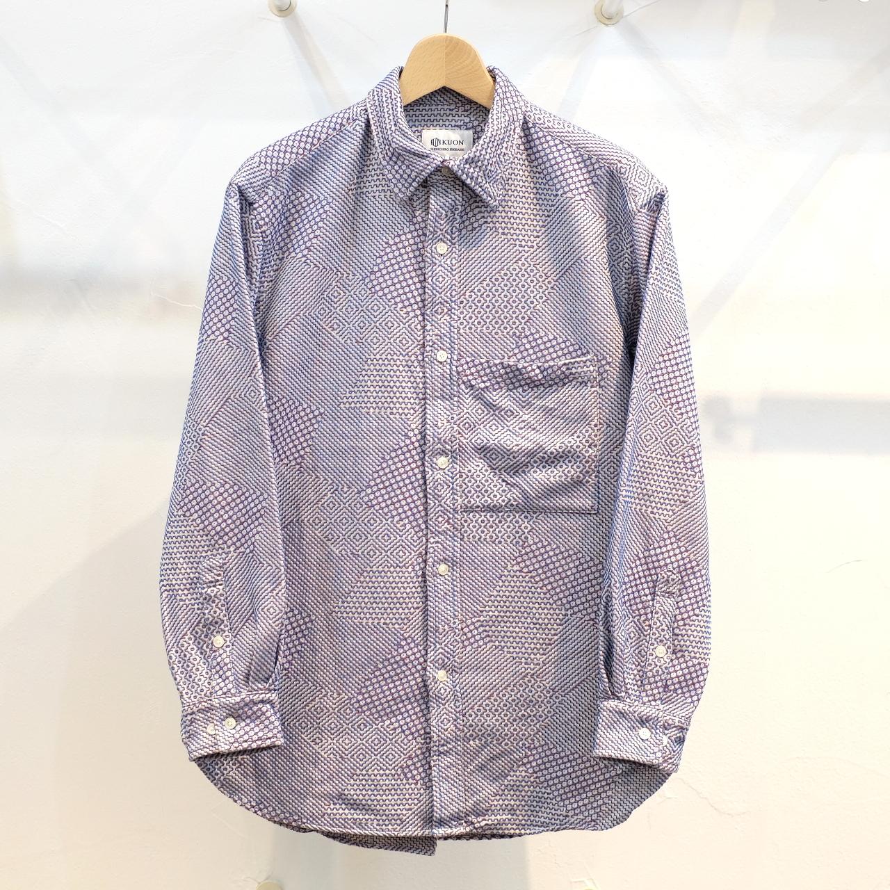 KUON(クオン) 紋刺し子織 セミロングシャツ