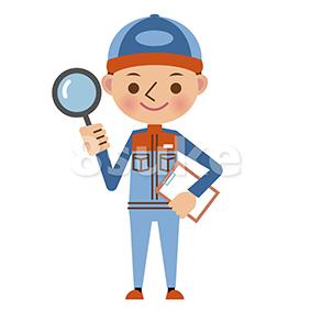 イラスト素材:自動車整備士の点検イメージ(ベクター・JPG)