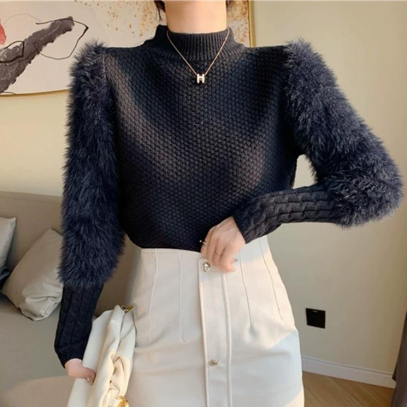 fur volume sleeve knit