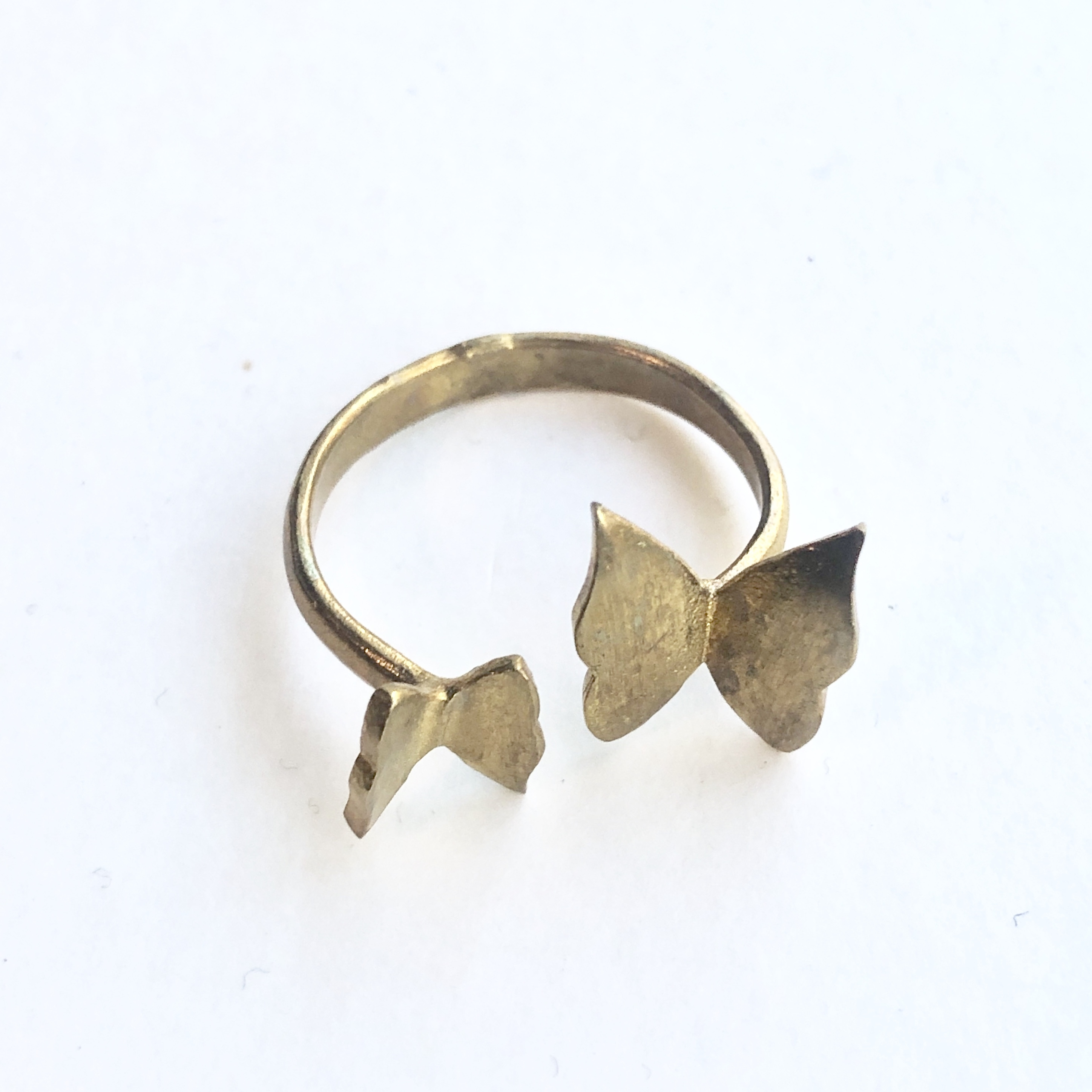 Raw brass Rings -  butterfly pairリング RG-032