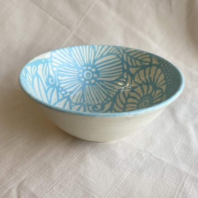 floral:ボウル・麺鉢・丼 / 花模様の器シリーズ(ターコイズ)