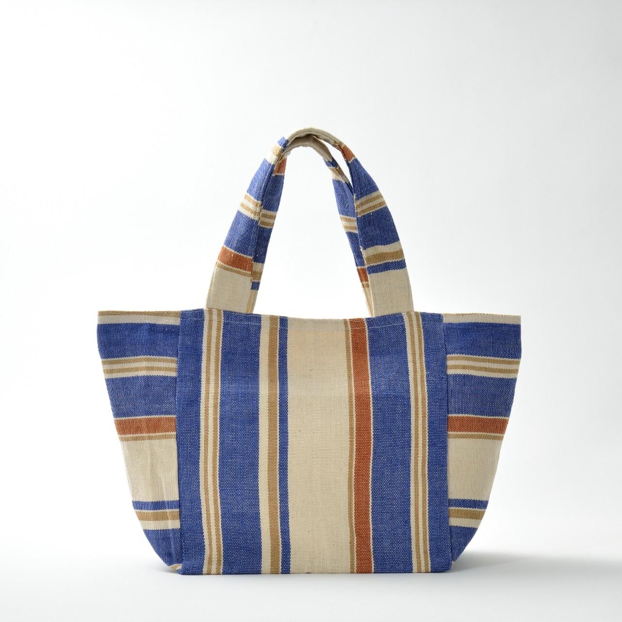 手織りビーチバック 茶×青M(再入荷)